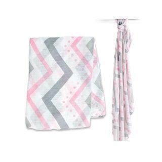 Lulujo Pink Chevron Bamboo Muslin Swaddle Blanket