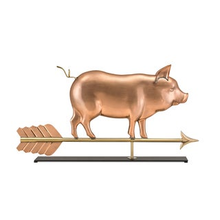 Country Pig Pure Copper Weathervane Sculpture on Mantel Stand: Home Decor by Good Directions