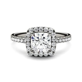 Charles & Colvard 14k White Gold 1 2/5ct DEW Forever One Near-Colorless Moissanite Halo Engagement Ring