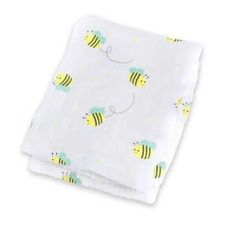 Lulujo Bumbling Bee Baby Muslin Cotton Swaddling Blanket
