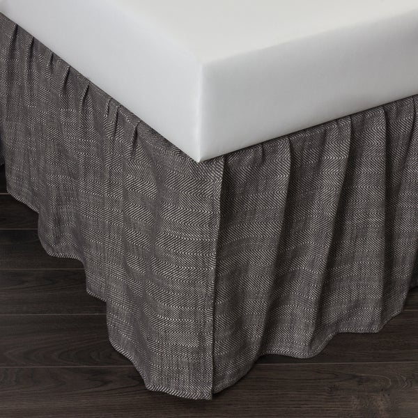 Lucas Charcoal Cotton Herringbone Bed Skirt
