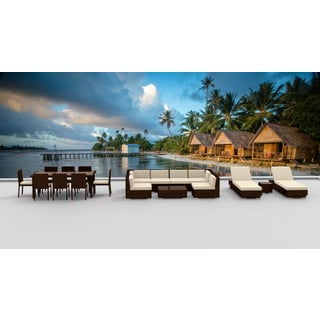 Urban Furnishing   BROWN SERIES 19 Piece Outdoor Dining And Sofa Sectional Patio  Furniture Set