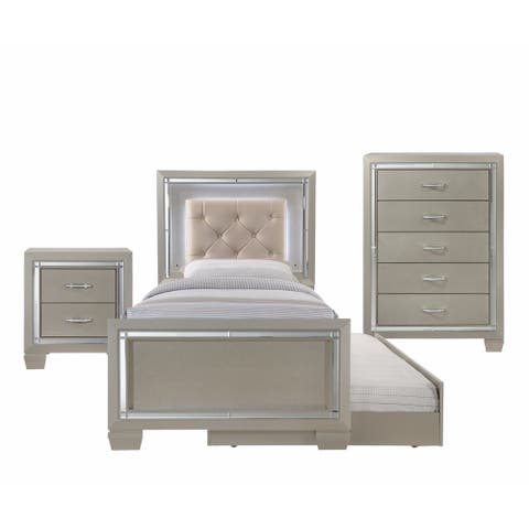 Silver Orchid Odette Glamour Youth Twin Platform w/ Trundle 3-piece Bedroom Set