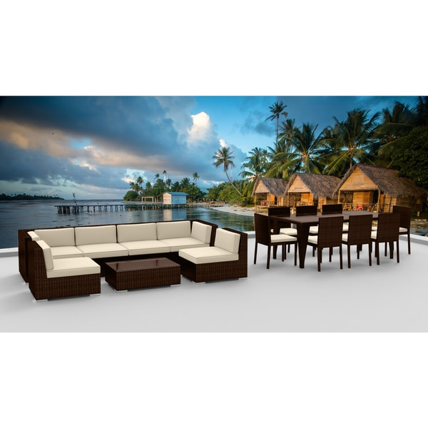 Urban Furnishing   BROWN SERIES 16 Piece Outdoor Dining And Sofa Sectional  Patio Furniture Set