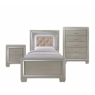 Silver Orchid Odette Glamour Youth Twin Platform 3-piece Bedroom Set