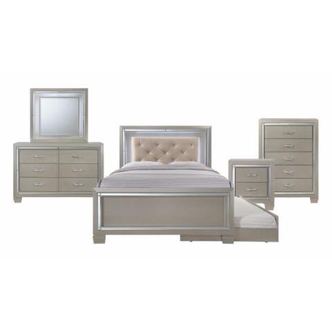 Silver Orchid Odette Glamour Youth Full Platform w/ Trundle 5-piece Bedroom Set