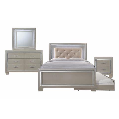 Silver Orchid Odette Glamour Youth Full Platform w/ Trundle 4-piece Bedroom Set