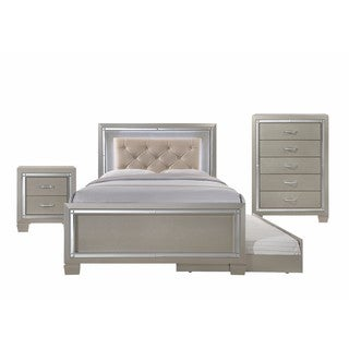 Silver Orchid Odette Glamour Youth Full Platform w/ Trundle 3-piece Bedroom Set