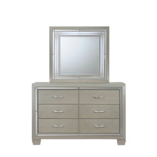 Picket House Furnishings Glamour Youth Dresser & Mirror w/ LED Light Set