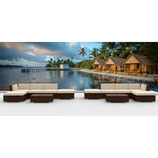 Urban Furnishing - BROWN SERIES 12a Modern Outdoor Backyard Wicker Rattan Patio Furniture Sofa Sectional Couch Set