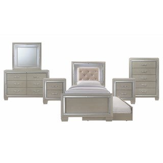 Picket House Furnishings Glamour Youth Twin Platform w/ Trundle 6PC Bedroom Set