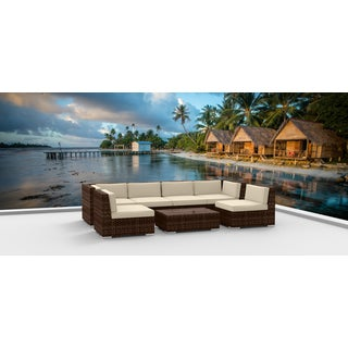 Urban Furnishing - BROWN SERIES 7b Modern Outdoor Backyard Wicker Rattan Patio Furniture Sofa Sectional Couch Set