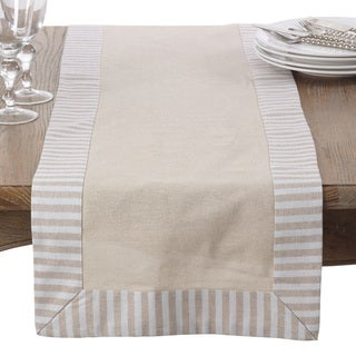 Stripe Pattern Border Linen Cotton Table Runner