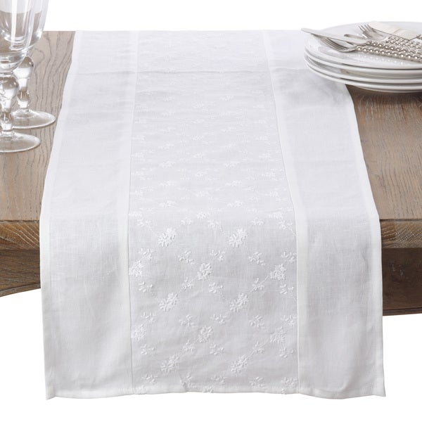 Embroidered Floral Design Linen Table Runner