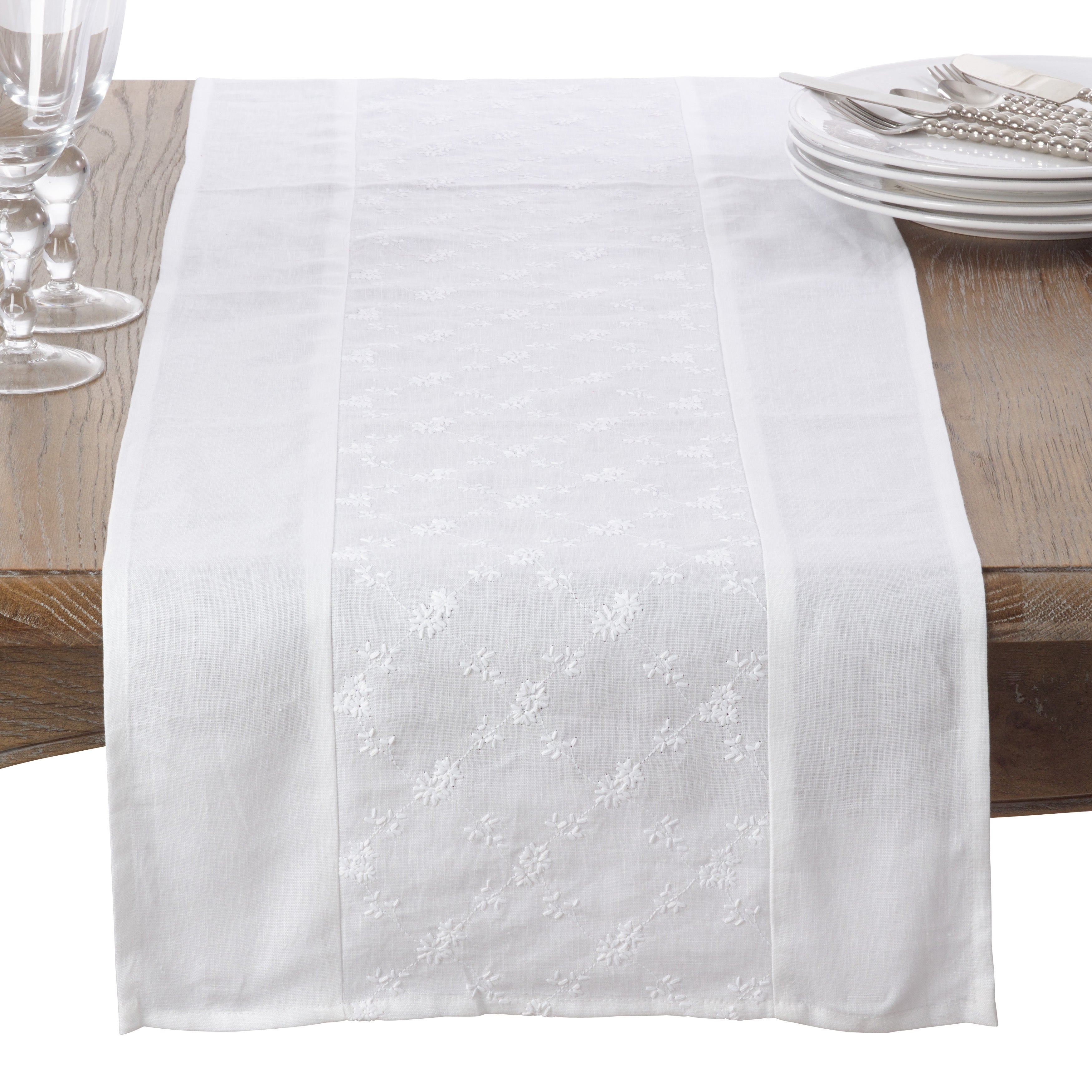 Saro Embroidered Floral Design Linen Table Runner (White,...