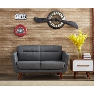 US Pride Furniture Alice Linen Fabric Upholstery Mid-century Modern Loveseat