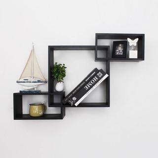 Adeco Black Wood Interlocking Floating Wall Shelves Shelf