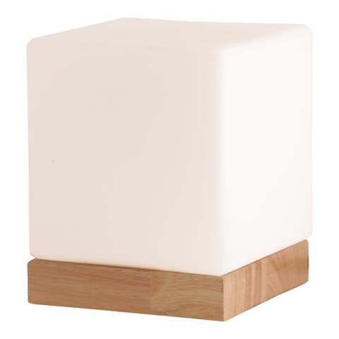 Light Accents Small Table Lamp Cube Accent Lamp Glass Shade with Natural Wooden Base