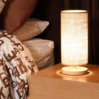 Light Accents Natural Wood Base and Linen Shade Table Lamp