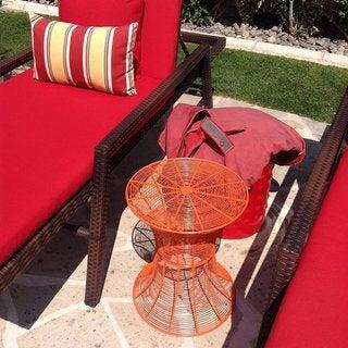 Orange Woven Iron Wire Patio Round Side Table