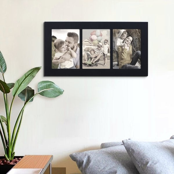 Adeco Black Color Wood Decorative Divided Wall Hanging Artwork Print Picture Photo Frame
