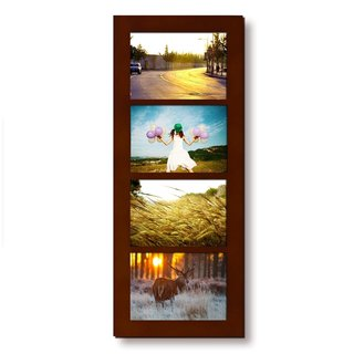 Adeco Decorative Walnut Color Wood Divided Wall Hanging Artwork Print Picture Photo Frame