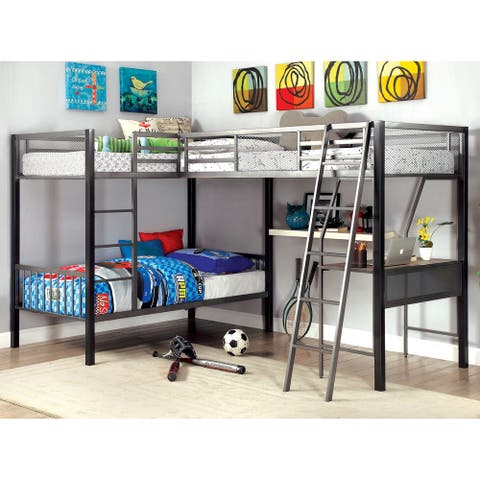 Furniture of America Serc Contemporary Grey Twin Metal Bunk Bed