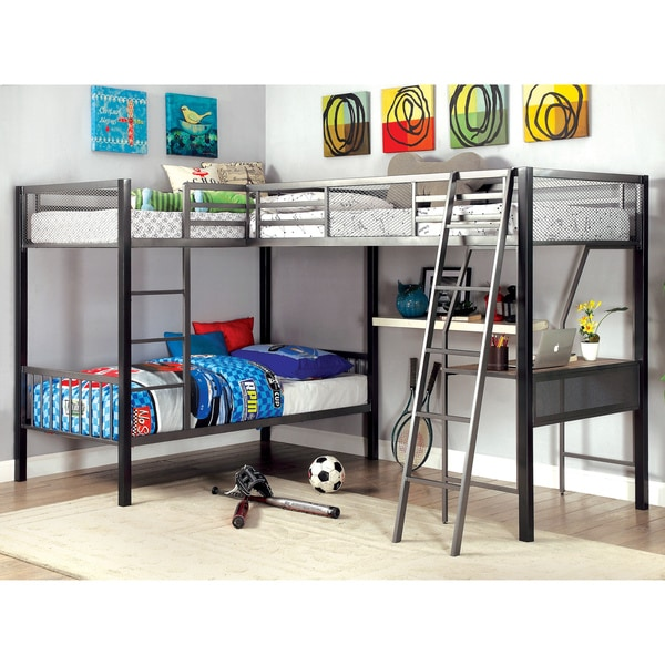 Shop Pewtern Contemporary Twin Grey L Shaped Bunk Bed By FOA