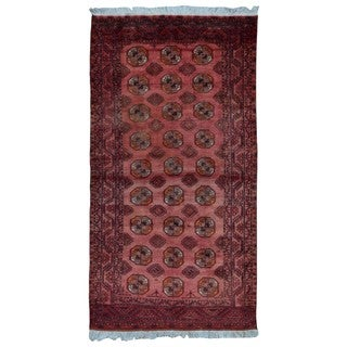 FineRugCollection Handmade Turkoman Bukhara Red Oriental Rug (4'1 x 7'6)