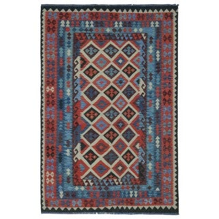 FineRugCollection Handmade Kilim Red & Blue Oriental Rug (6'7 x 9'8)