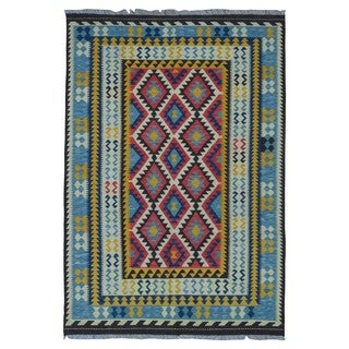 FineRugCollection Handmade Kilim Red, Yellow & Blue Oriental Rug (5'6 x 7'11)