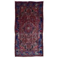 FineRugCollection Handmade Semi-Antique Persian Hamadan Red Oriental Runner (5'7 x 10'10)