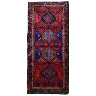 FineRugCollection Handmade Semi-Antique Persian Hamadan Red Oriental Runner (4'9 x 10'6)