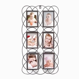 Adeco 6-opening Decorative Iron Metal Wall Hanging Collage Picture Photo Frame