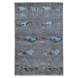 FineRugCollection Handmade Kid's Animal Print Blue & Grey Oriental Rug (4'2 x 6'3)