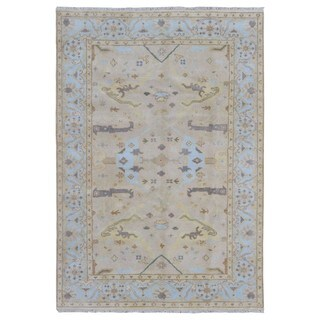 FineRugCollection Handmade Oushak Blue & Beige Oriental Rug (6'1 x 8'8)