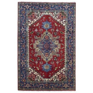FineRugCollection Handmade Serapi Red & Blue Oriental Rug (6'1 x 9'1)