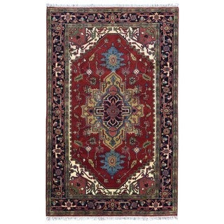 FineRugCollection Handmade Serapi Red & Navy Oriental Rug (5'9 x 9')