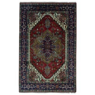 FineRugCollection Handmade Serapi Red & Blue Oriental Rug (6' x 9'2)