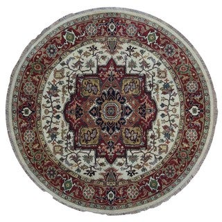 FineRugCollection Handmade Serapi Ivory and Red Oriental Round Rug (7'9 x 7'9)