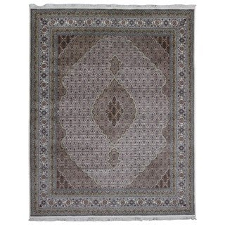 FineRugCollection Handmade Fine Mahi Tabriz With Silk Beige & Olive Oriental Rug (8' x 10'1)