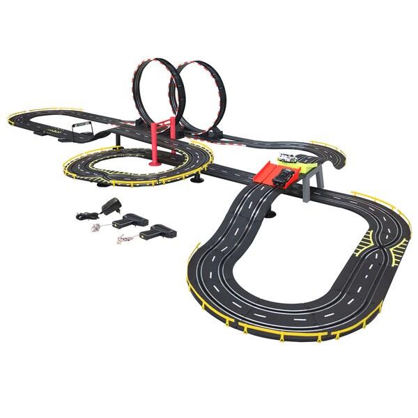 Golden Bright Black Plastic Electric Power Speed Jump Road Racing Set
