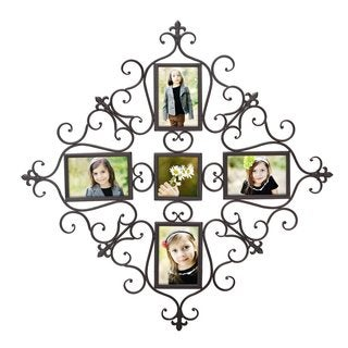 Adeco Opening Decorative Brown/Black Iron Metal Wall Hanging Collage Picture Photo Frame