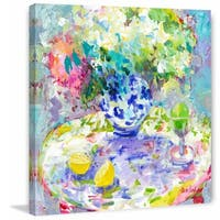 Hydrangeas' Painting Print on Wrapped Canvas - Blue