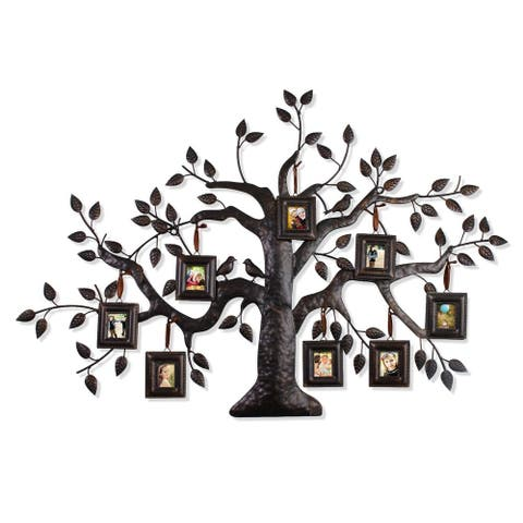 Adeco Bronze Iron Metal Decorative Family Tree Hanging Collage Picture Frame