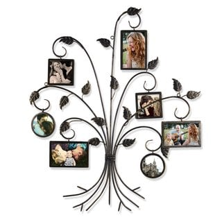 Adeco Brown Black Decorative 7-opening Bronze/ Iron Finish Metal Photo Frame Collage Wall Hanging