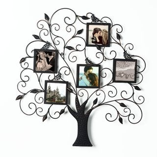 Adeco Brown and Black Iron Metal Decorative Tree-style Collage Wall Family Tree Scroll Hanging Picture Photo Frame