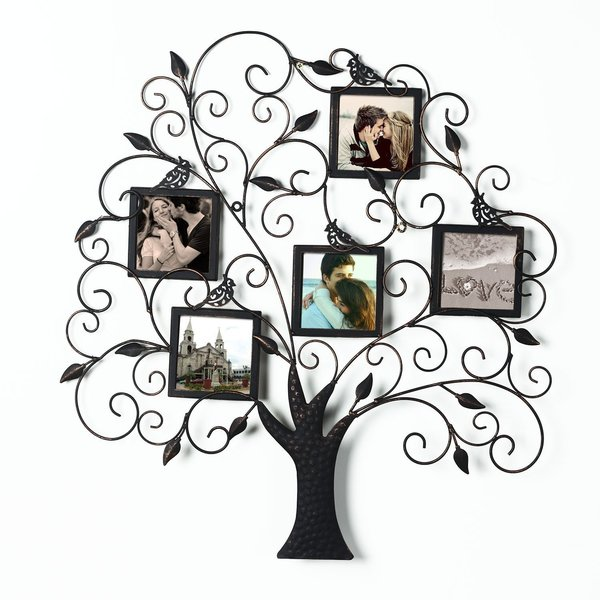 Adeco Brown and Black Iron Metal Decorative Tree-style Collage Wall Family Tree Scroll Hanging Picture Photo Frame. Opens flyout.