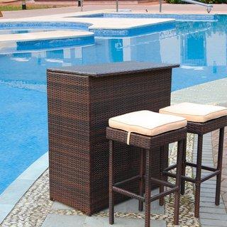 Adeco Outdoor Wicker 3-Piece Patio Bar Set