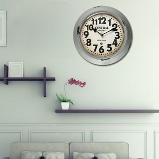 Adeco Central Station New York Grey Iron Retro Round Large Number Hanging Wall Clock